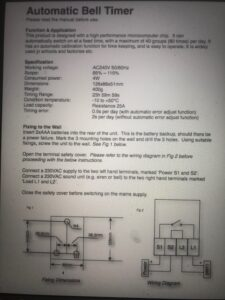 Bell Timer Manual 1