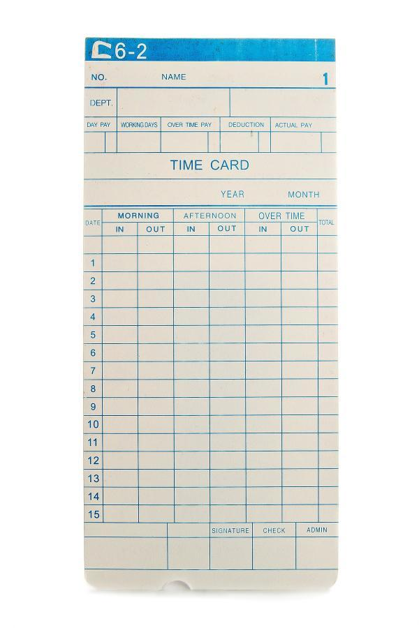 Monthly Clocking in Card
