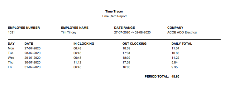 Clocking in app STAFF TIMECARD