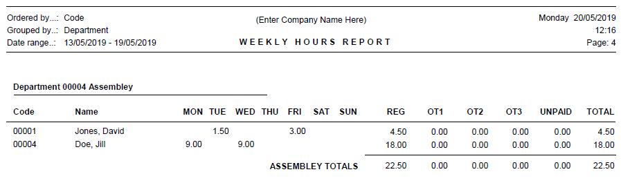 Dept Hours Report